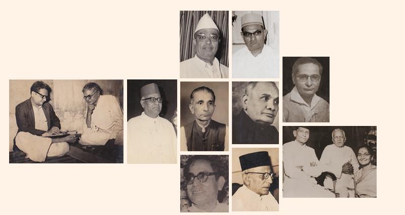 L to R: Friends and Associates of Kavishree - Jeevanlal Brahmbhatt taking dictation from Kavi Shri, Laxmidas Kalyanji (Annaji), Lalji Laxmidas, Kavi Manasvi Prantijwala, Ramchandra Thakur, Dungarshi Jamnadas, Raghunath Brahmbhatt, Manilal Bhatt, Chandravadan Mehta, Master Kasambhai, Kavi Shri and Motibai